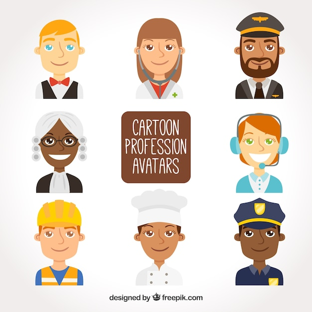 Pack of cartoon professions avatars