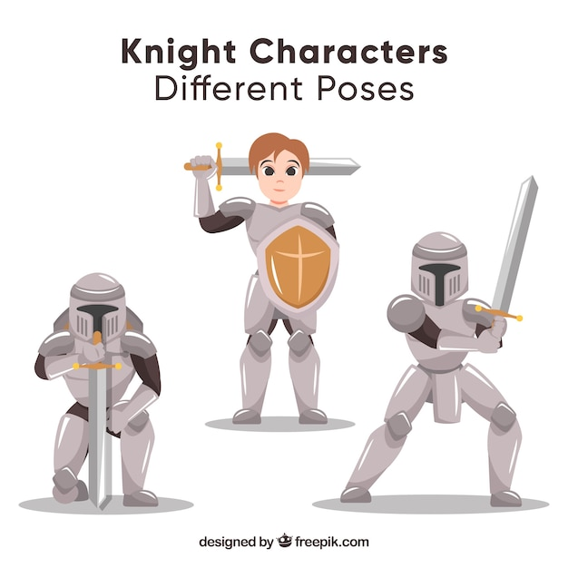 Pack of characters with armor in different positions