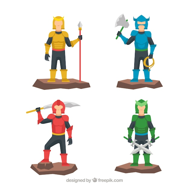 Pack of characters with colored armor