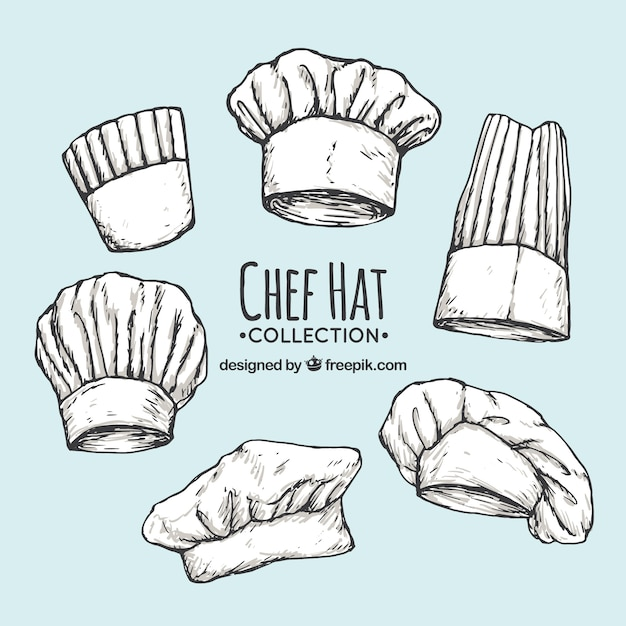 Pack of chef's hand-drawn hats Free Vector