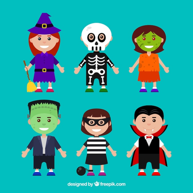 Pack of children disguised as halloween Free Vector