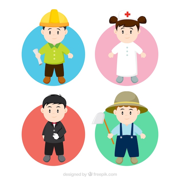Pack of children dress of professions