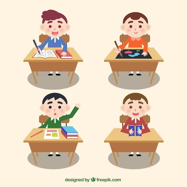 Pack of children in a desk