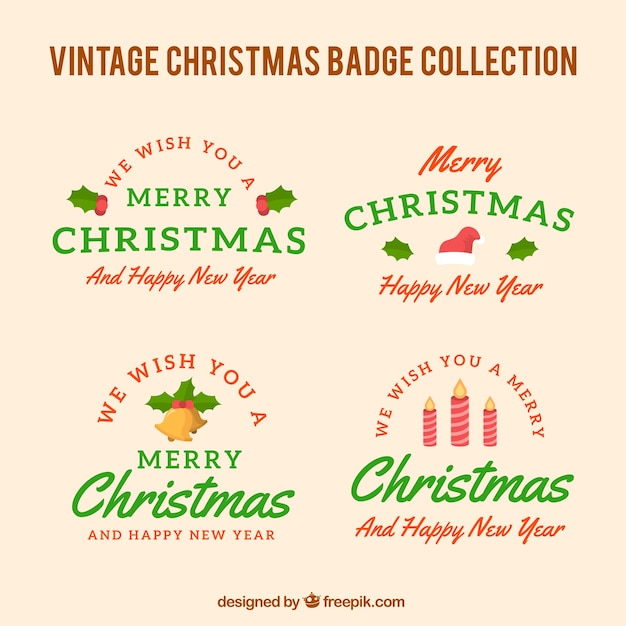 Pack of christmas badges in retro style