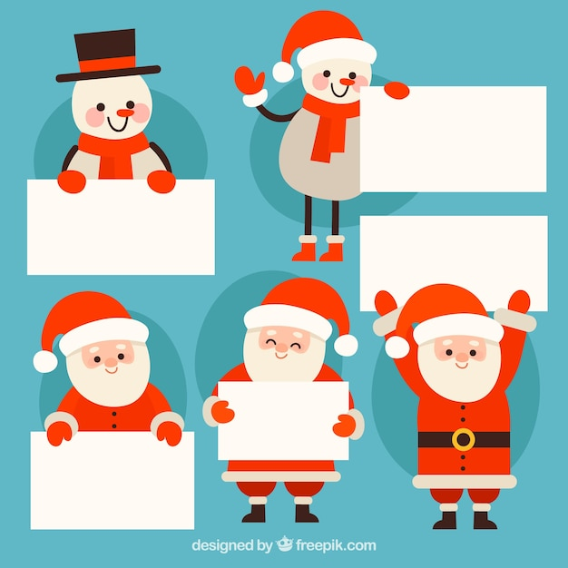 Pack of christmas characters with letter