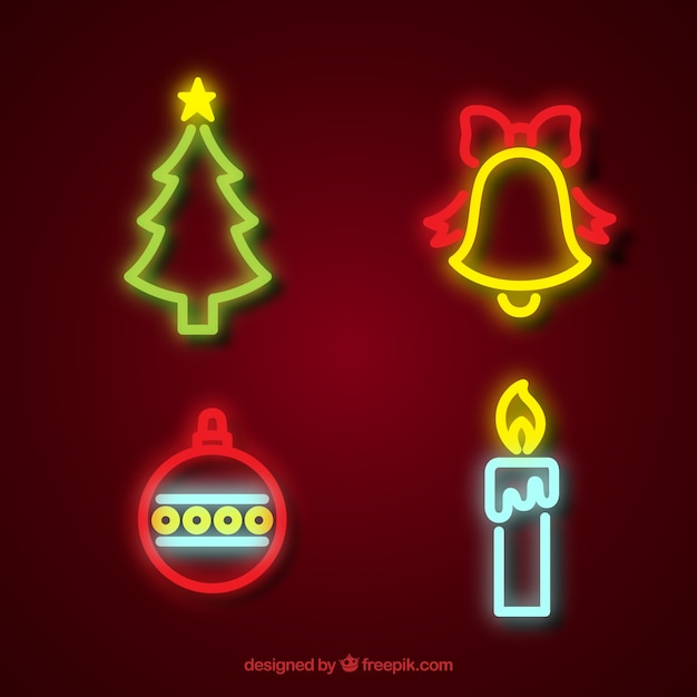 pack of christmas elements neon lights free vector
