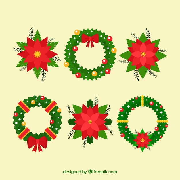 Pack of christmas floral ornaments Free Vector
