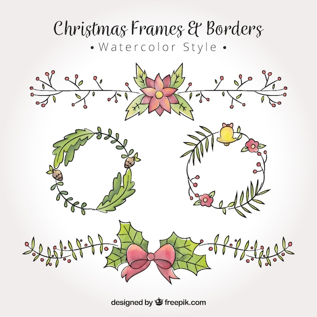 pack of christmas frames and watercolor borders free vector