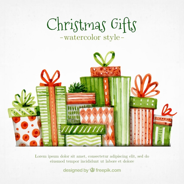 Pack of christmas gifts in watercolor style Free Vector