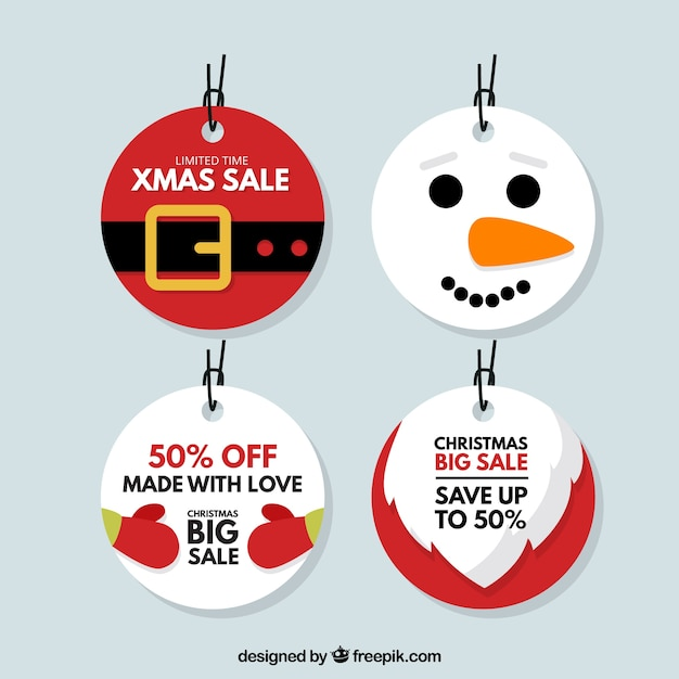 Pack of christmas tags with discounts Free Vector