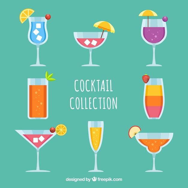 Pack of cocktails with fruits in flat\ design