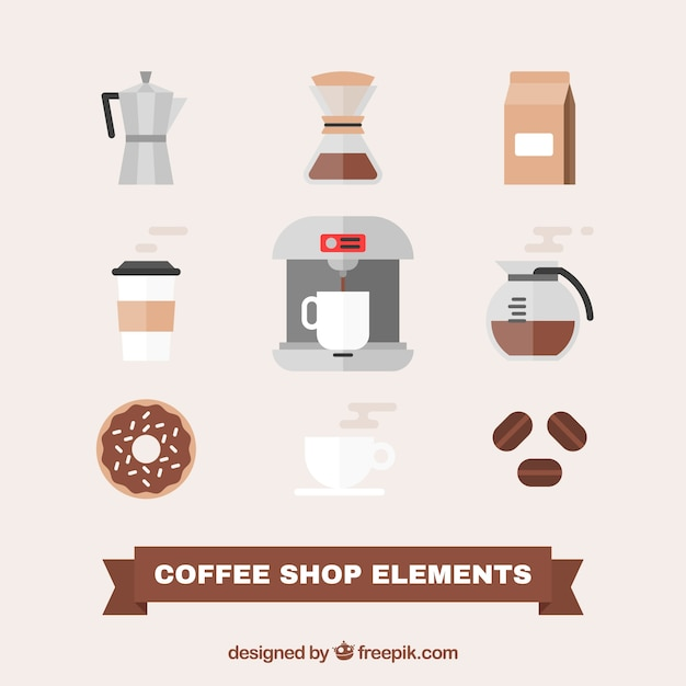 Pack of coffee accessories in flat\ design