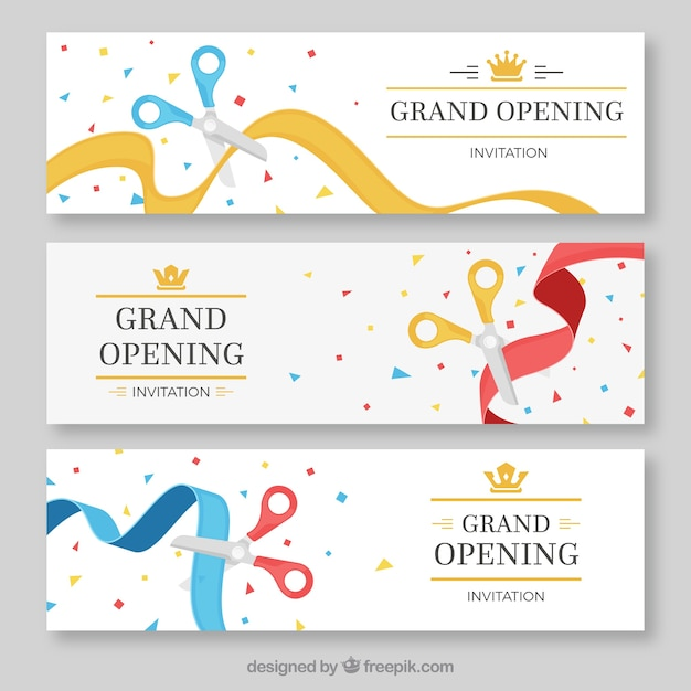 Pack of color opening ribbon banners vector free download pack of color opening ribbon banners free vector stopboris Images