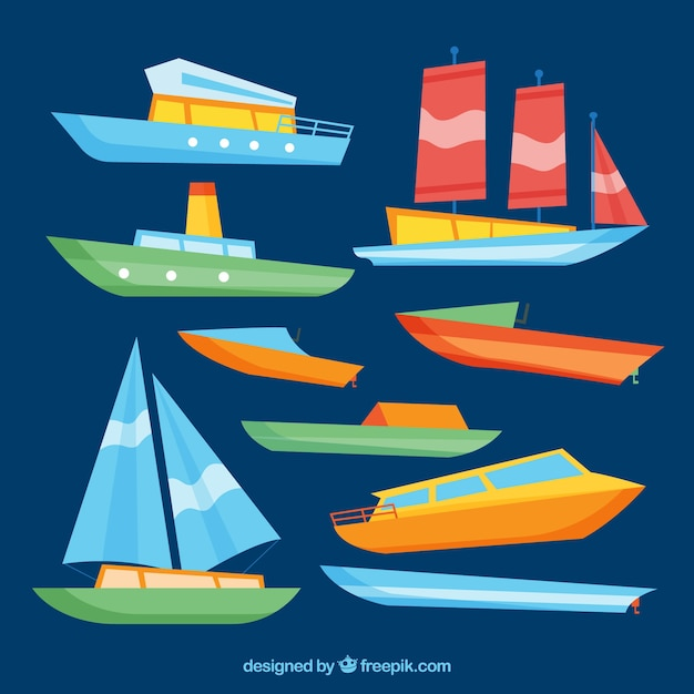 Pack of colored boats in flat design