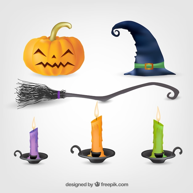 Pack of colored candles and other halloween elements