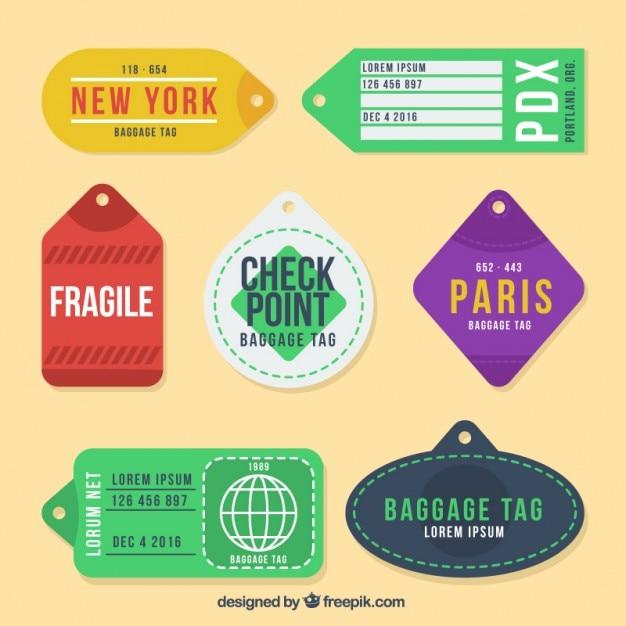 着色された都市のタグのパック 無料ベクター