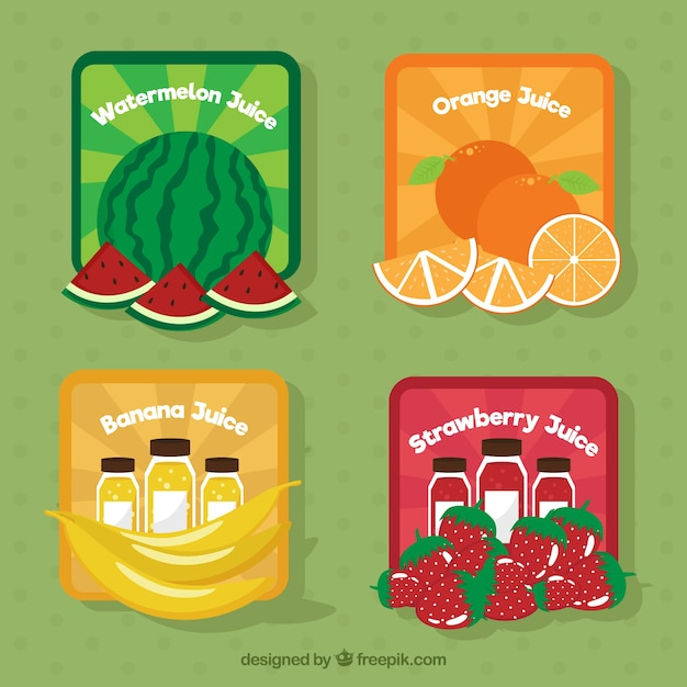 Pack of colored fruit stickers