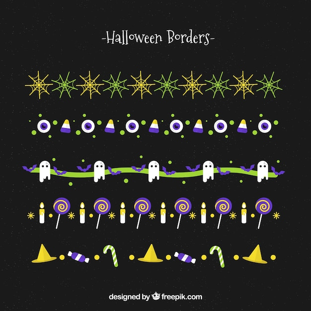 Pack of colored halloween borders in flat design
