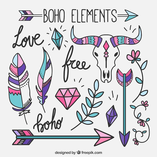Pack of colored hand-drawn boho elements