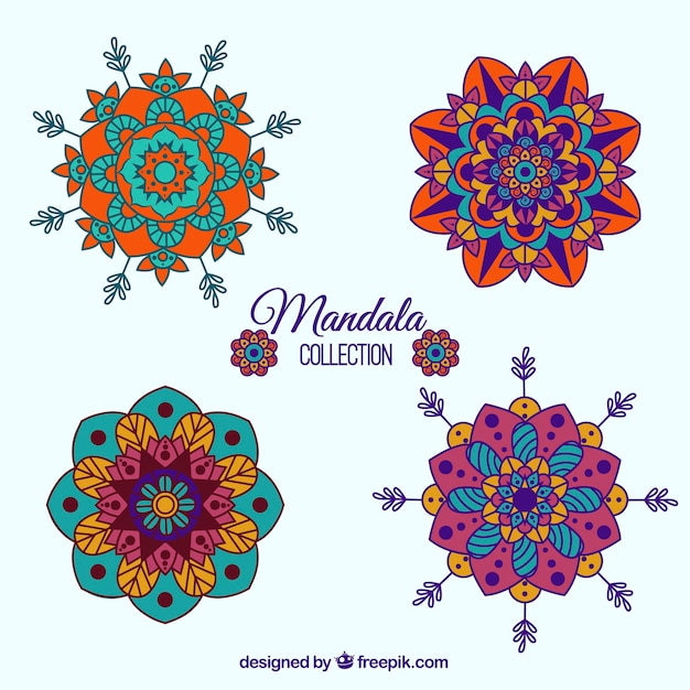Pack of colored hand drawn mandalas