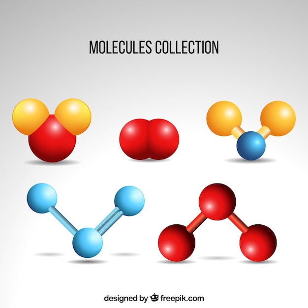 Pack of colored molecular components