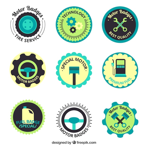 Pack of colored motorcycle badges in flat\ style