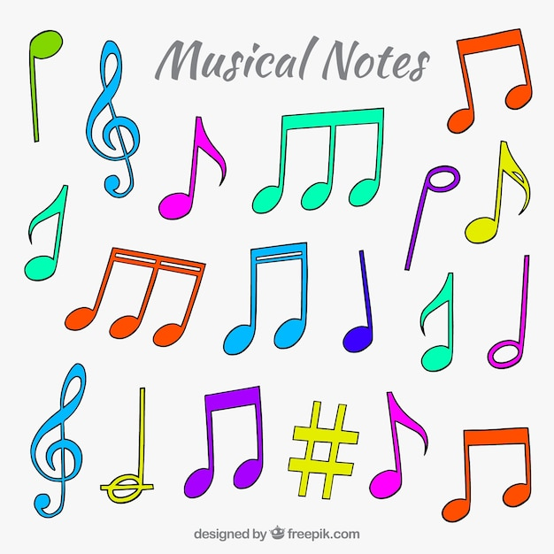 pack of colored musical notes in hand drawn style vector free download