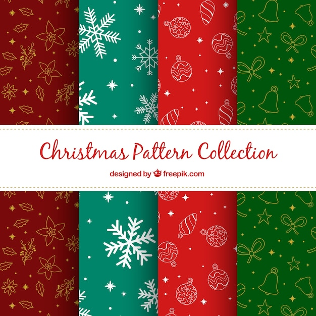 Pack of colored patterns with christmas drawings
