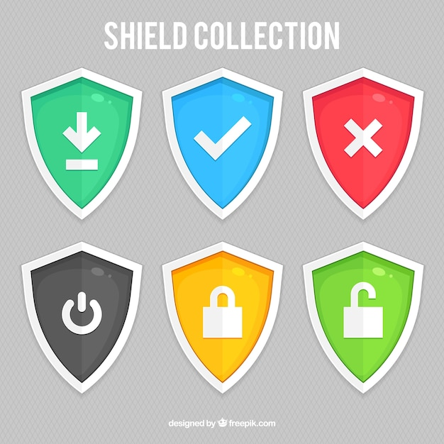 Pack of colored shields with icons Free Vector