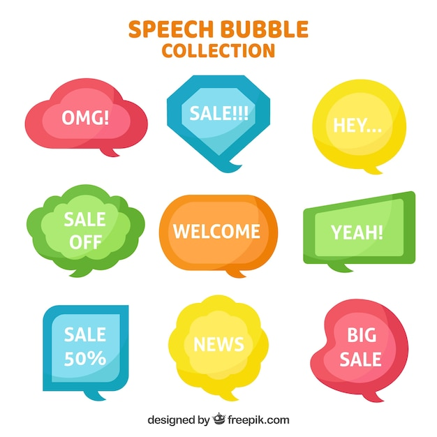 Pack of colored speech bubbles with messages