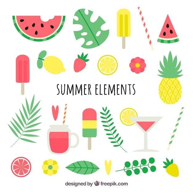 Pack of colored summer elements Free Vector