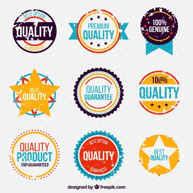 Pack of colored vintage quality guarantee stickers
