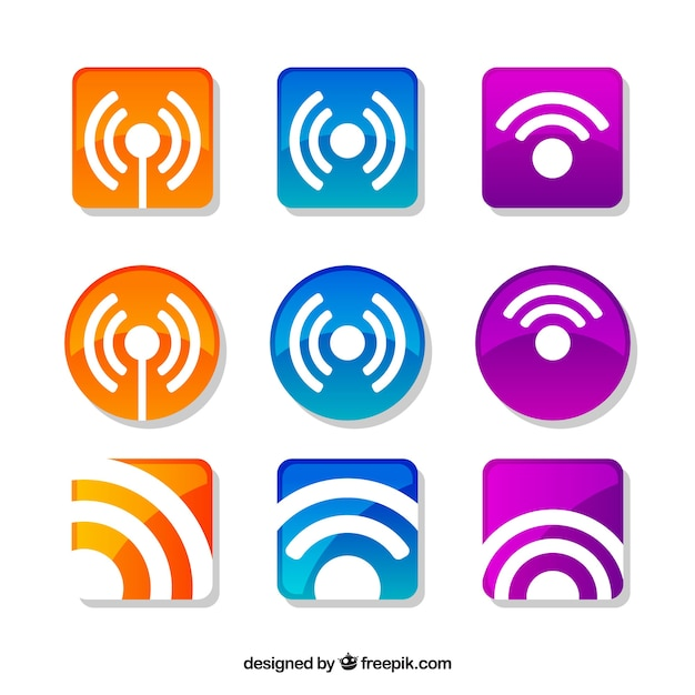 Pack of colored wifi stickers