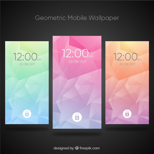 Pack of colorful abstract wallpapers of mobile