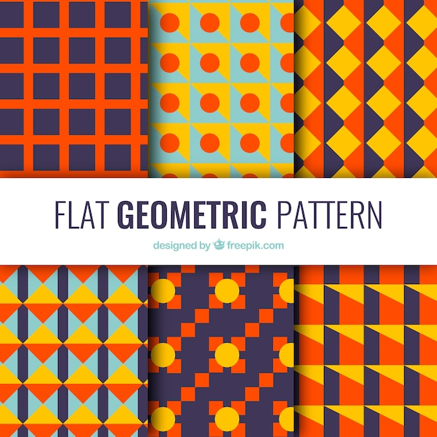 Pack of colorful geometric shapes patterns in flat design