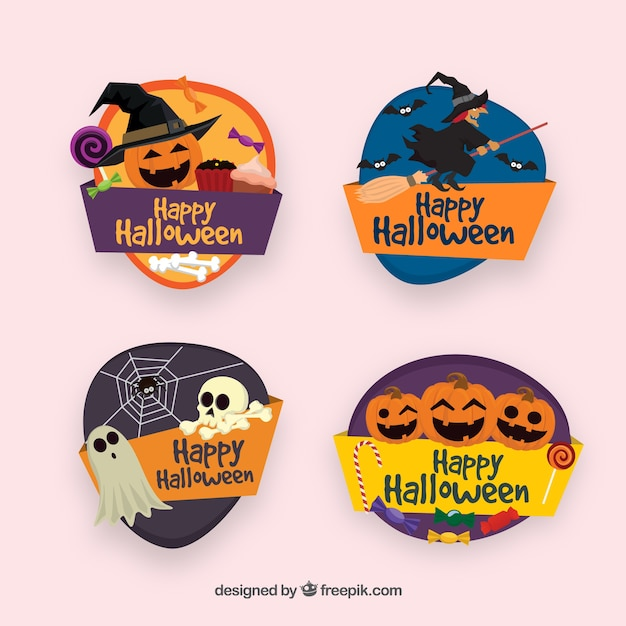 Pack of colorful halloween badges Free Vector