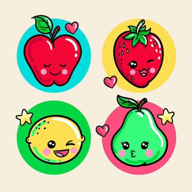 다채로운 귀여운 음식 팩 프리미엄 벡터