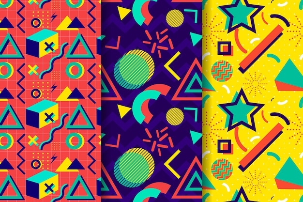 Пакет красочных узоров мемфис Бесплатные векторы