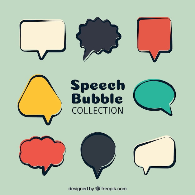 Pack of colorful retro speech bubbles