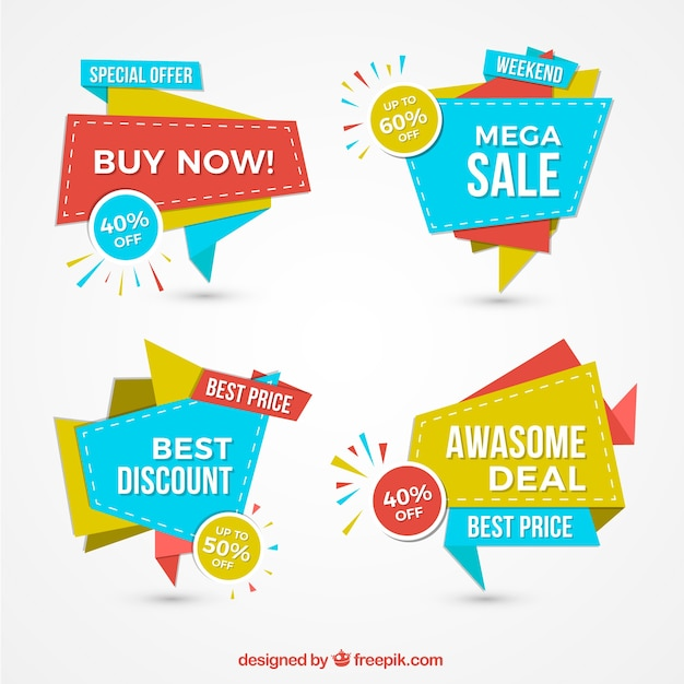 Pack of colorful sale banners