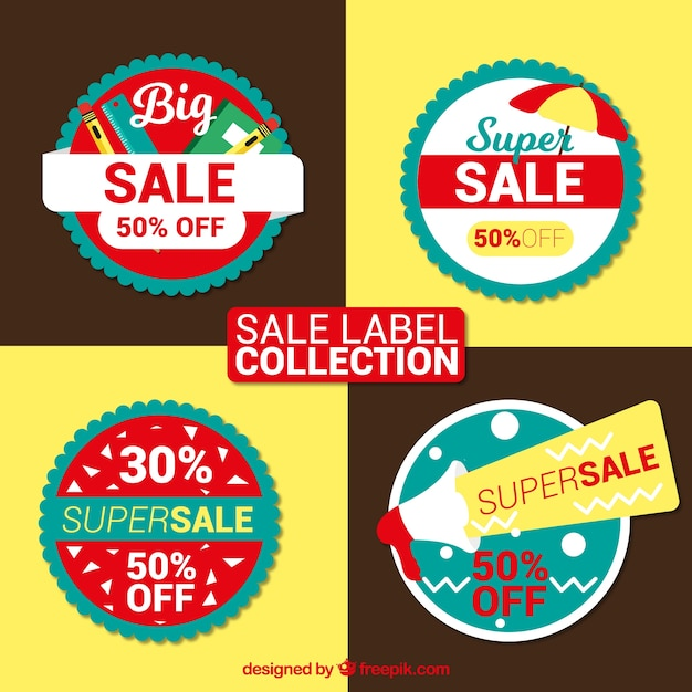 Pack of colorful sale stickers