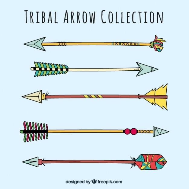 Pack of colorful tribal arrows