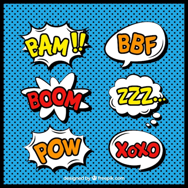 Pack of comic speech bubbles