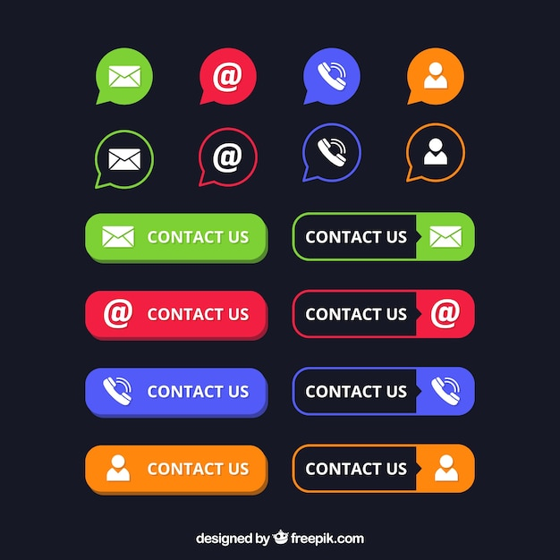 Pack of contact buttons and icons Free Vector