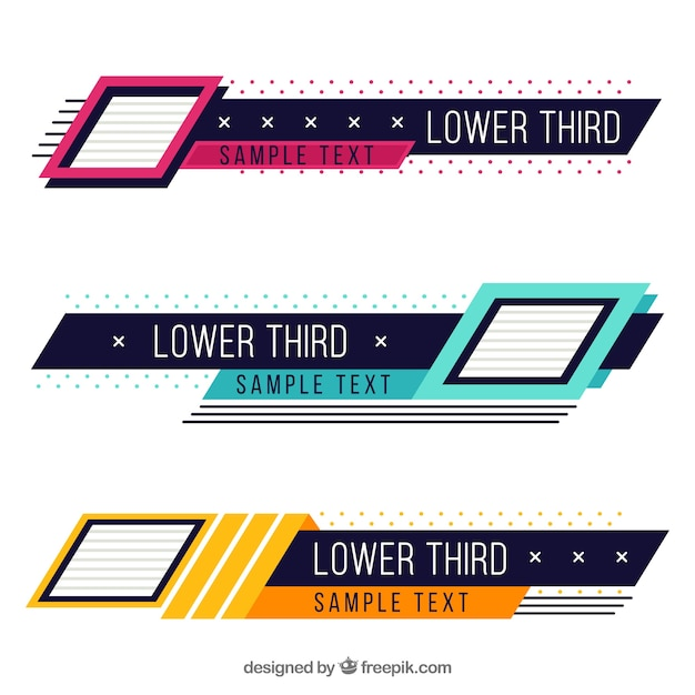 Pack Of Creative Colorful Lower Thirds Vector Free Download