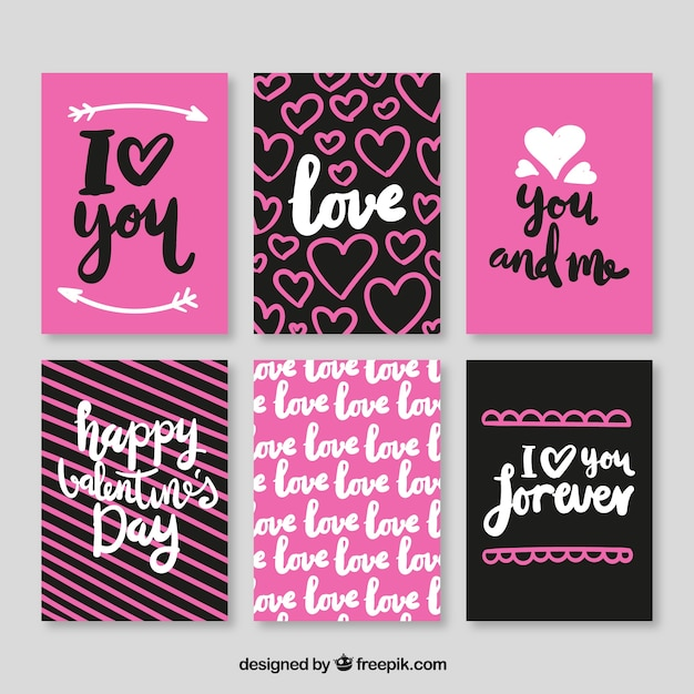 Pack of creative valentines cards