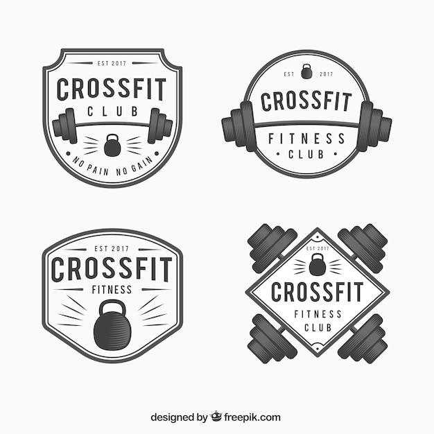 Pack of crossfit stickers in vintage style free vector