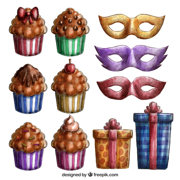 Pack of cupcakes and birthday elements in watercolor effect