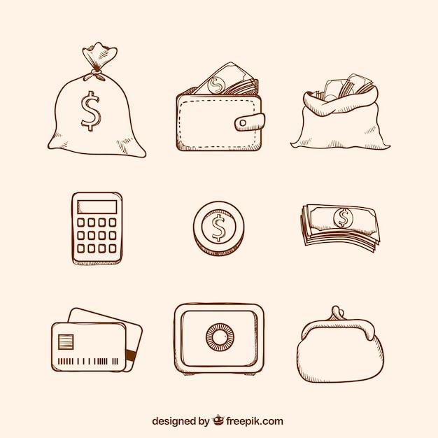 Пакет валюты и других денежных пунктов Бесплатные векторы