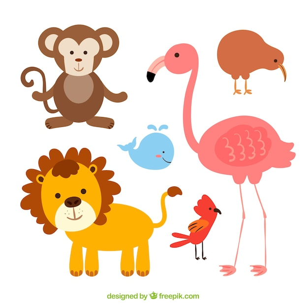 pack of cute animals with flat design free vector